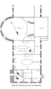 Plan de l'aile droite du rez-de-chaussée